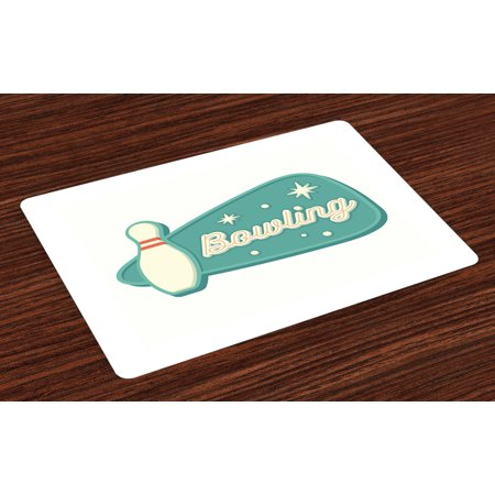 - Bowling Placemats Set of 4 Vintage Design in Traditional American Style Hobby Fun Sports Theme, Washable Fabric Place Mats for Dining Room Kitchen Table Decor,Seafoam Cream and Rust, by Ambesonne