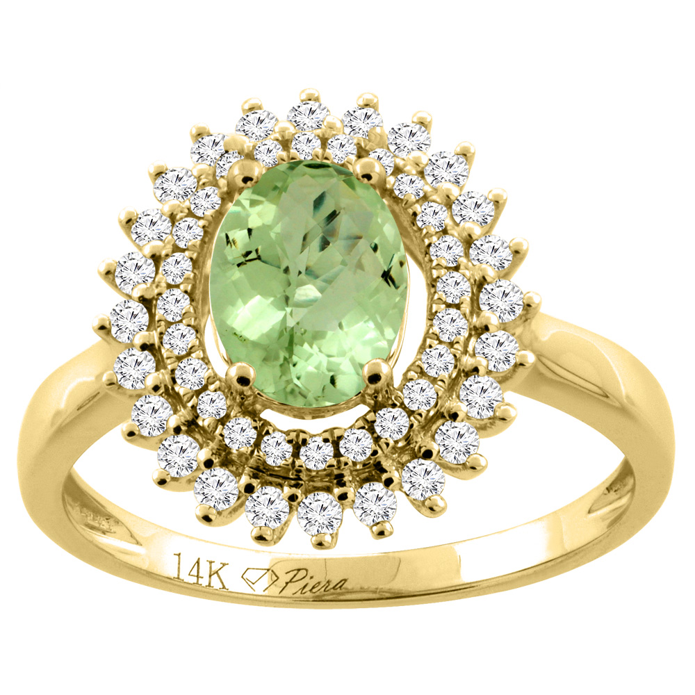 14K Yellow Gold Natural Peridot Ring Oval 8x6 mm Double Halo Diamond Accents, size 6 by Gabriella Gold