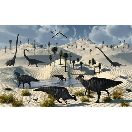 Omeisaurus Parasaurolophus Compsognathus and Eudimorphodon dinosaurs gather at a life saving oasis on the edge of a desert region Poster
