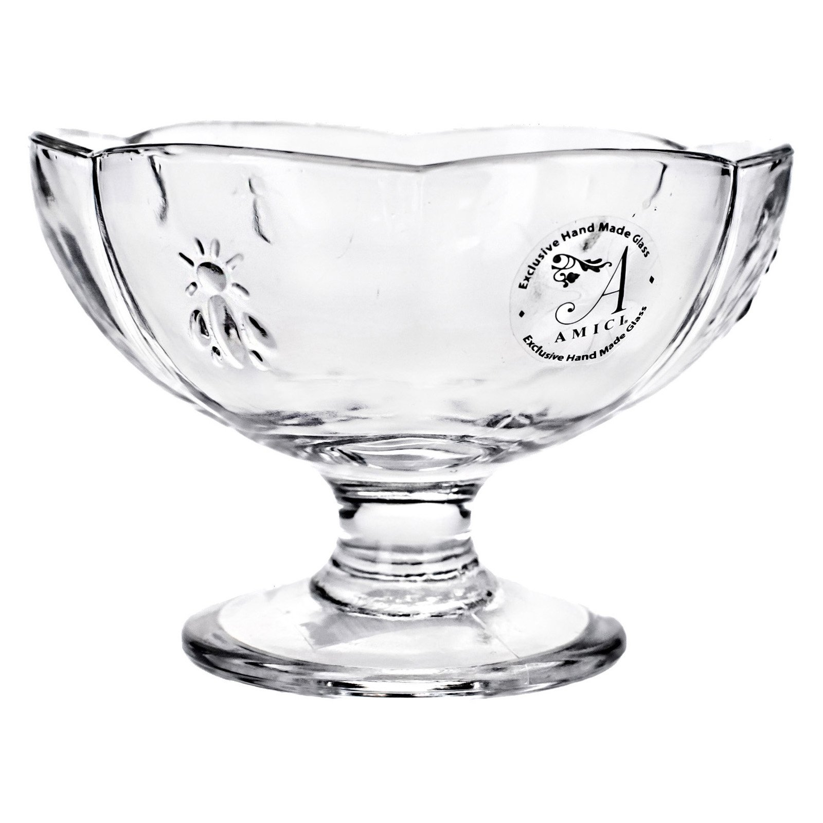 Global Amici Footed Dessert Bee Glass Bowl - Set of 6