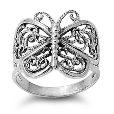 - Sterling Silver Women's Filigree Wings Butterfly Ring (Sizes 5-12) (Ring Size 11)