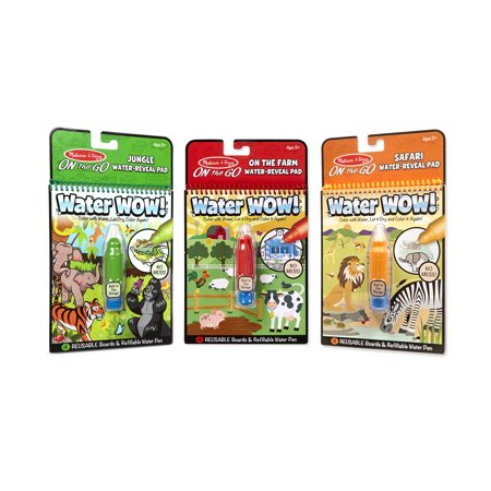Color Farm (Melissa & Doug On the Go Water Wow! Reusable Color with Water Activity Pad 3-Pack, Jungle, Safari, Farm, Chunky-Size Water Pens, 10