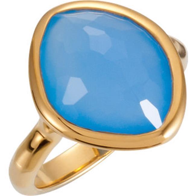 Stuller 650867-139-P 18K Vermeil 15 x 11 x 6 mm Blue Chalcedony Ring Size 8 by Stuller