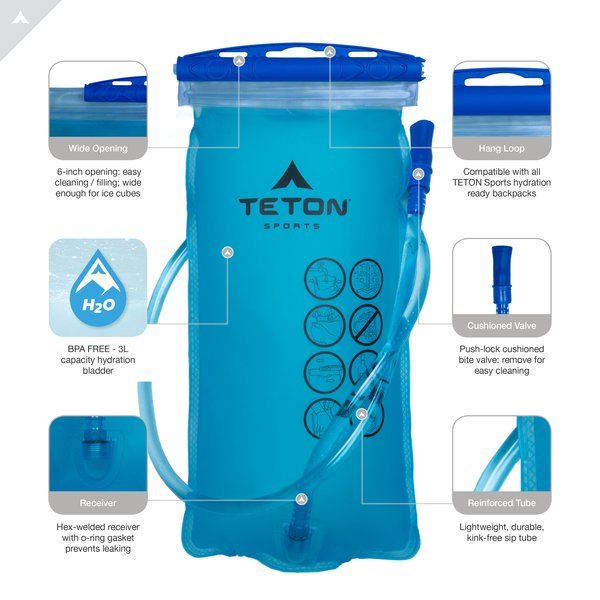 Cycling TETON Sports Oasis 1200 Hydration Pack; Free 3-Liter Hydration Bladder; For Backpacking Running Hiking and Climbing
