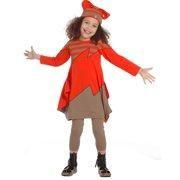 Little Girls Geranium Red Stripe Iris Designer Fall Dress 2