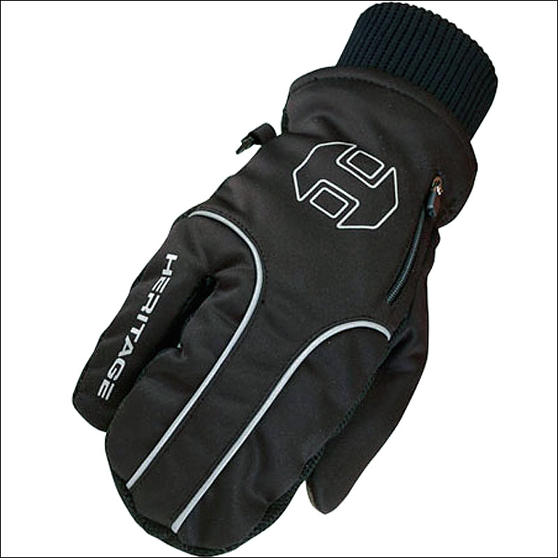05 SIZE HERITAGE 3 FINGER DESIGN ARCTIC WINTER GLOVE BLACK HORSE RIDING by