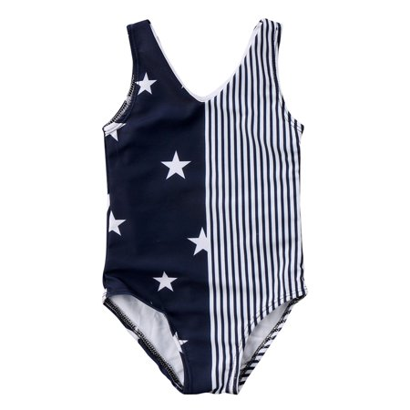 Infant Toddler Baby Girls Sleeveless Star Stripes One Piece Bikini 4th Of July Swimsuit
