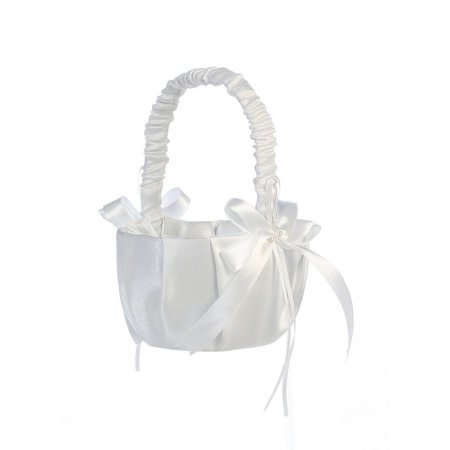 White Pleated Satin Bows Flower Girl Basket (White Flower Girl Basket)