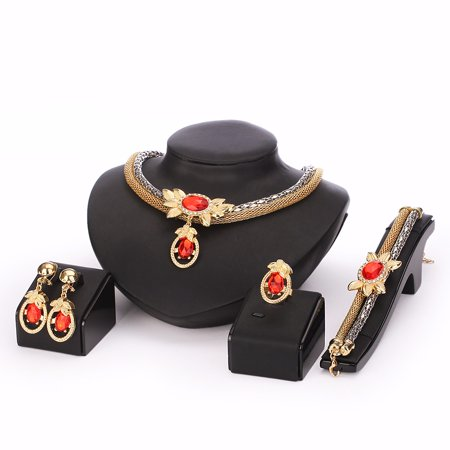 - Moochi 18K Gold Plated Simulated Pearl Beads Red Oval Zircon Necklace Earrings Bracelet Jewelry Set