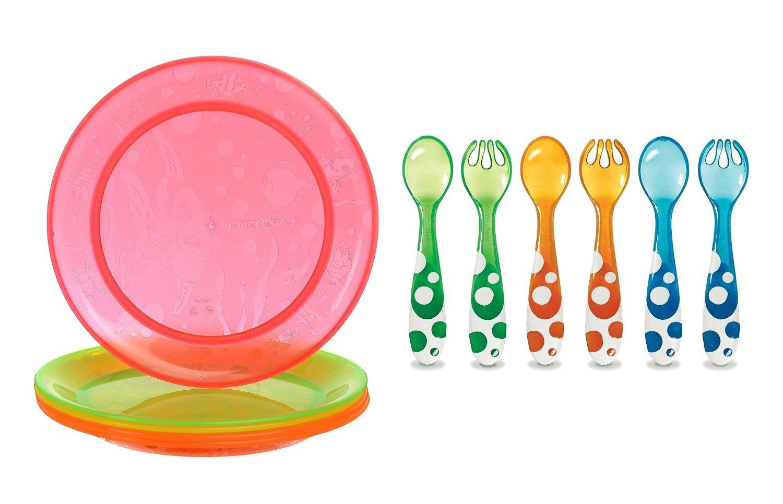 Munchkin Multi Feeding Plates & 6 Piece Fork and Spoon Set by Munchkin