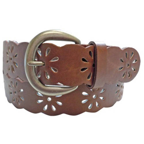 Faded Glory Daisy Perforated Women's Belt, Tan