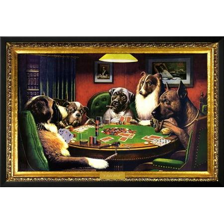 Dogs Playing Poker Lamina Framed Poster Wall Art  - 38x26