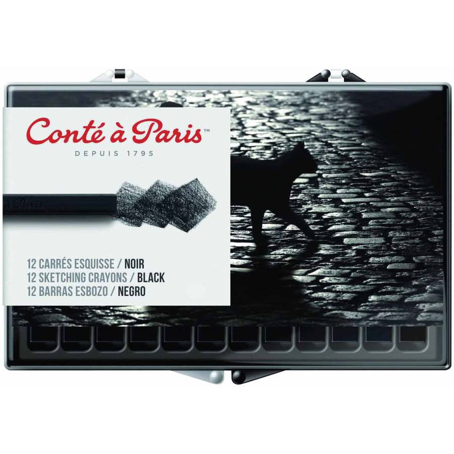 "Conte Crayon in Plastic Box, 0.25"" x 0.25"" x 2.5"", Assorted Tips, Black, 12pk"