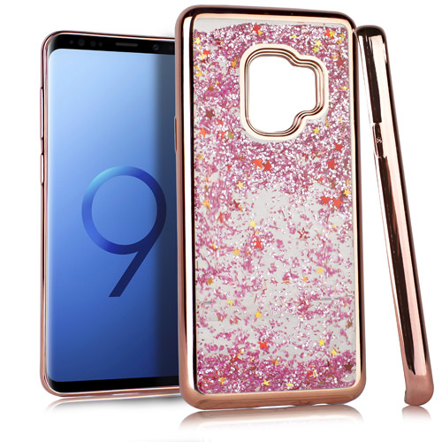 MUNDAZE Rose Gold Motion Glitter Chrome Case For Samsung Galaxy S9 Phone