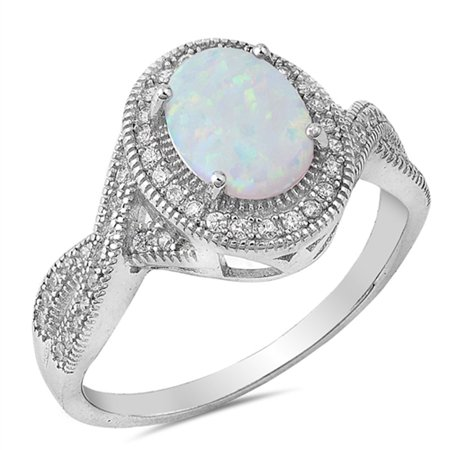 CHOOSE YOUR COLOR Clear CZ White Simulated Opal Vintage Oval Ring .925 Sterling Silver Band Vintage Opal Cocktail Ring