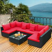Gymax 7PCS Rattan Patio Conversation Set Sectional Furniture Set w/ Red Cushion