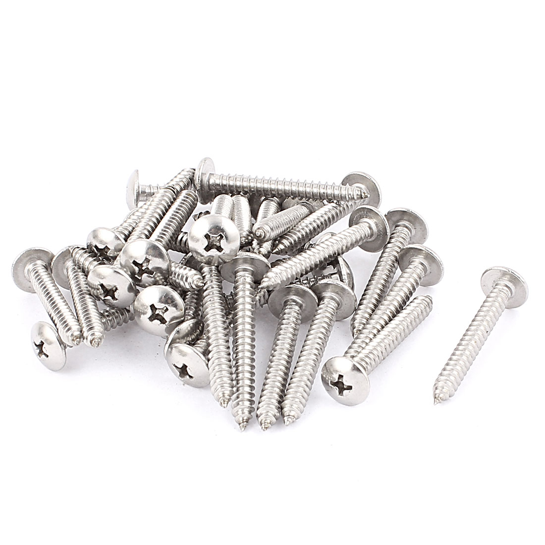 4.8mm x 40mm Stainless Steel Phillips Truss Head Self Tapping Screw 30 Pcs