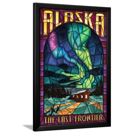 Alaska - Cabin and Northern Lights Stained Glass Framed Print Wall ...