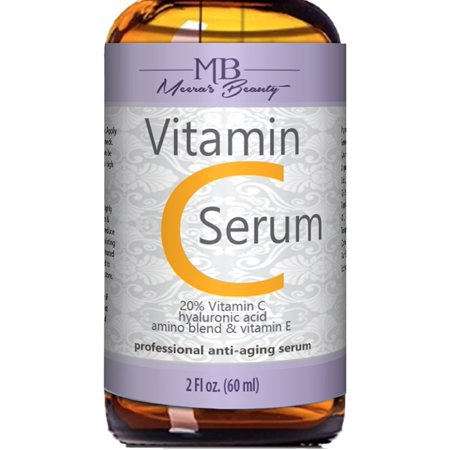 DOUBLE SIZED (2 oz) PURE VITAMIN C SERUM FOR FACE 20% With Hyaluronic Acid - Anti Wrinkle, Anti Aging, Dark Circles, Age Spots, Vitamin C, Pore Cleanser, Acne Scars, Organic Vegan