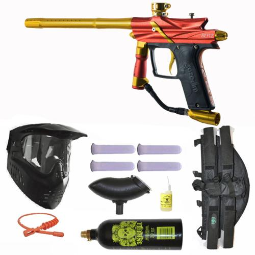 Azodin Blitz 3 Electronic Paintball Marker Gun 3Skull 4+1 Mega Set Orange Yellow by