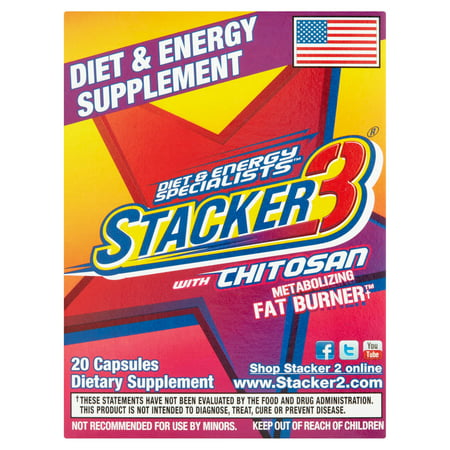 (2 Pack) Stacker3 with Chitosan Metabolizing Fat Burner Weight Loss Supplement, Capsules, 20