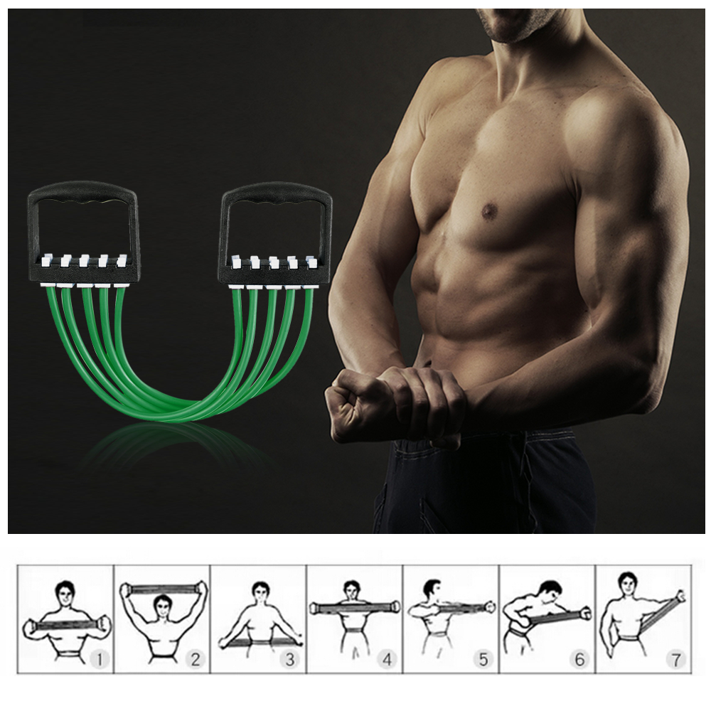 Portable Indoor Chest Expander Puller Adjustable 5 Tubes Resistance Band Exercis