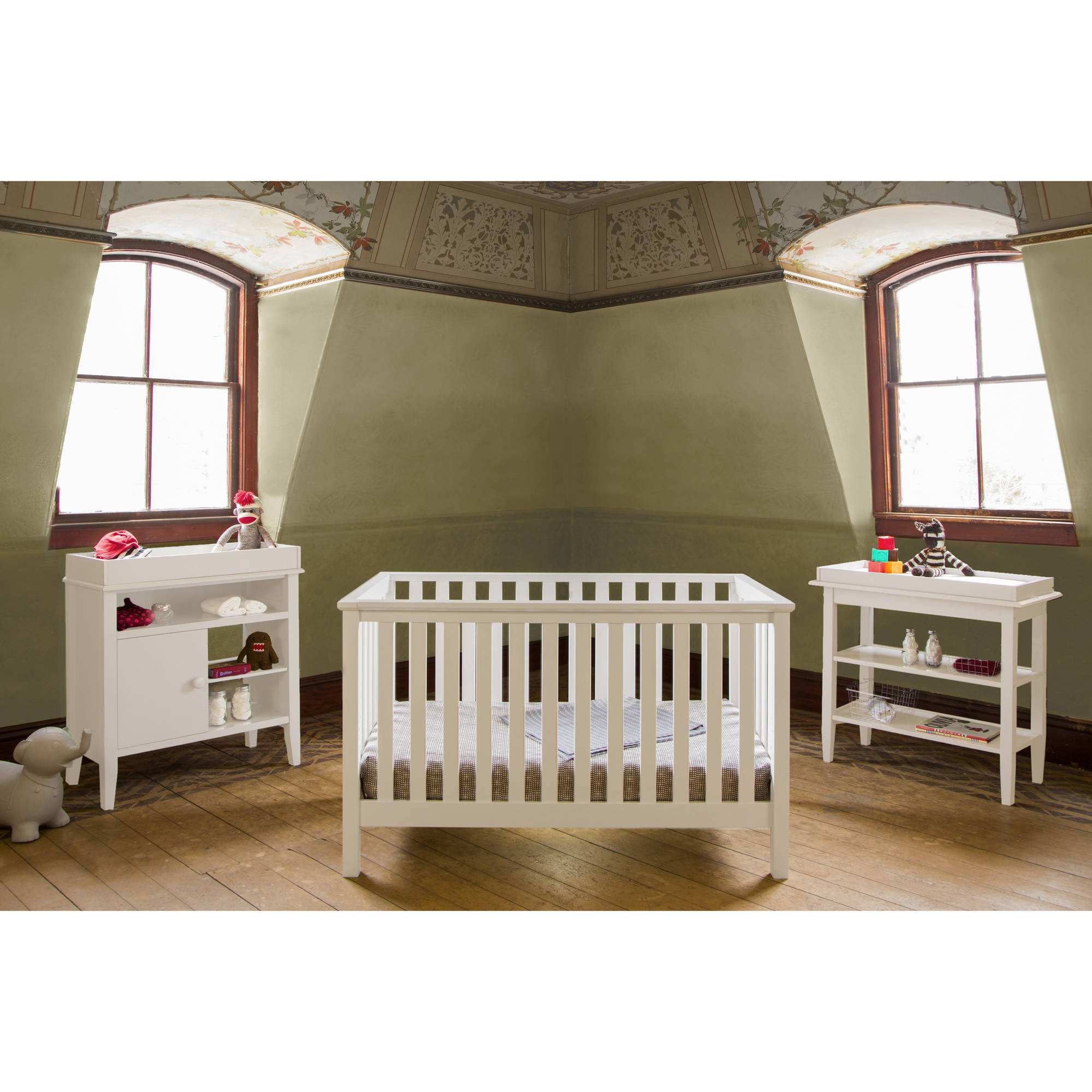 Lolly and Me Mod 4-in-1 Fixed-Side Convertible Crib, White