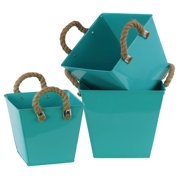 3-Pc Square Bucket Set in Light Blue Finish