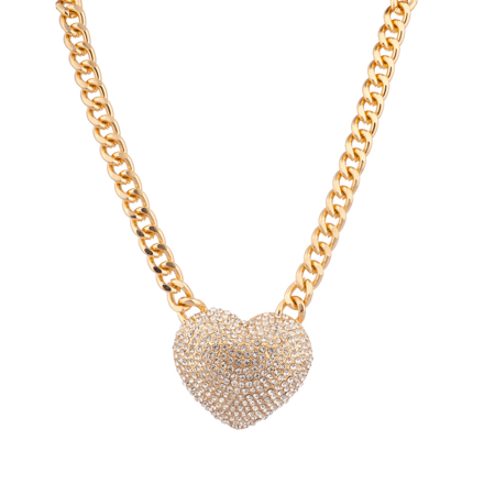Lux Accessories Large Pave Crystal Heart Chain Link Necklace Bling Iced Out