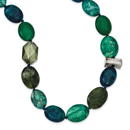 "Solid 925 Sterling Silver Simulated Jade, Crystal, Simulated Jasper and Serpentine with 2in ext Necklace Chain 18"" - with Secure Lobster Lock Clasp (20mm)"