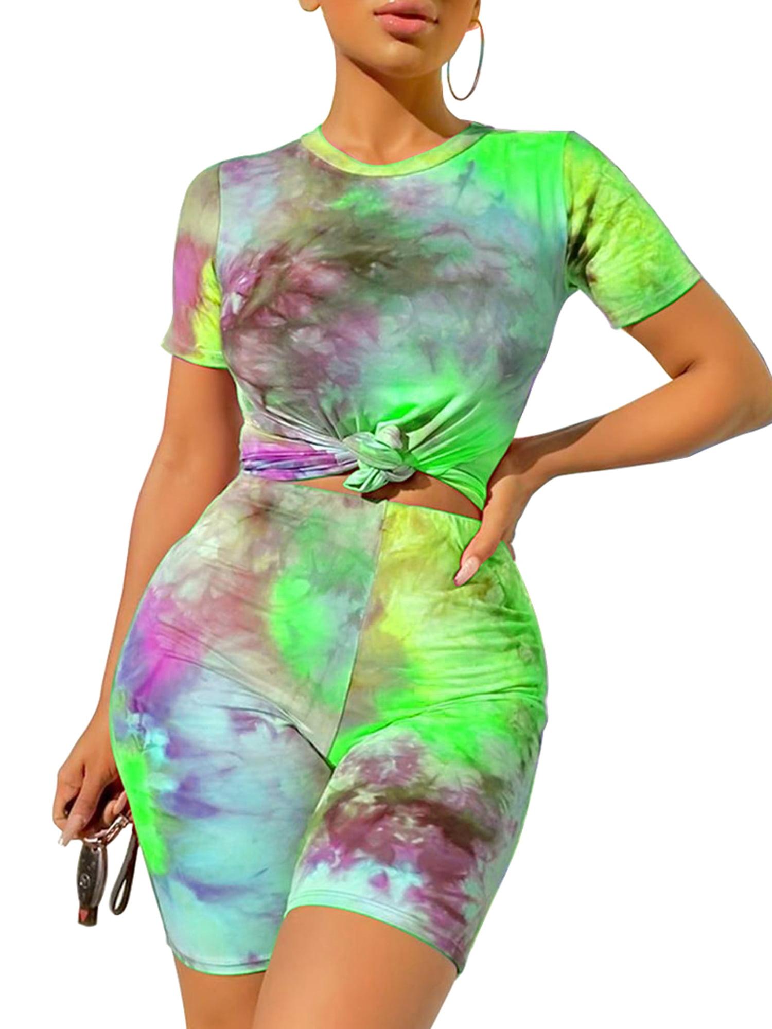 New Stylish Women Short Sleeves V Neck Tie Dye Print Casual Jumpsuit 2pcs Sport