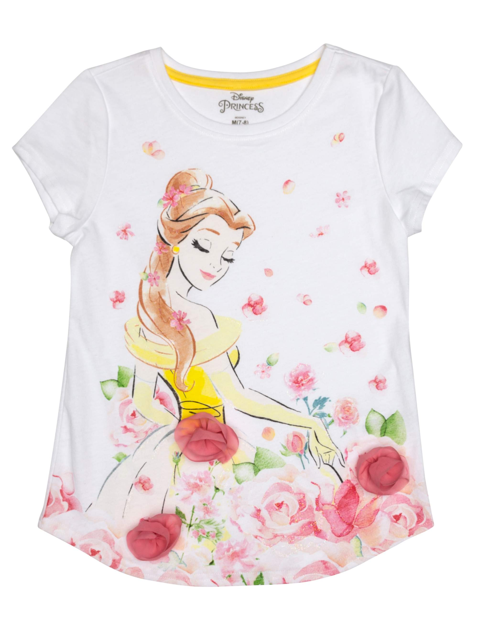 a01b7c4b216ef Disney Princess - Belle 3D Chiffon Flowers Graphic T-Shirt (Little Girls &  Big Girls) - Walmart.com