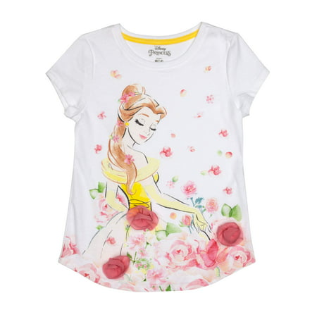 Belle 3D Chiffon Flowers Graphic T-Shirt (Little Girls & Big Girls) (Disney Bell Dress)