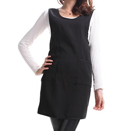 Sealike Korean Simplicity Solid Color Kitchen Cooking Cook Vest Apron with Pockets for Women Girls with Stylus Black