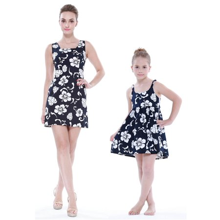 Matching Mother Daughter Hawaiian Luau Outfit Lady Tank Dress Girl Dress PW Navy Hibiscus S-2