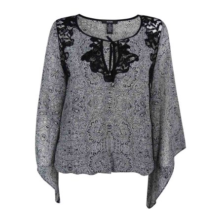 Alfani Women's Lace-Trim Chiffon Blouson Top (XS, Outline -