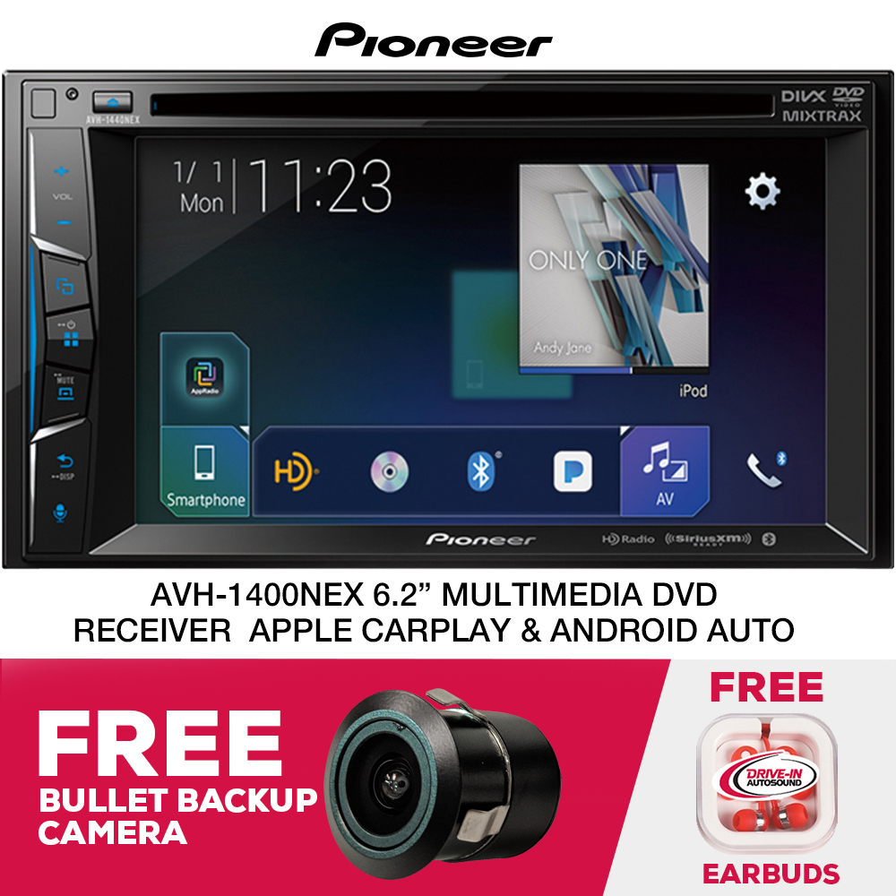 """Pioneer AVH-1400NEX 6.2"""" Multimedia DVD Apple CarPlay Receiver with Built-in Bluetooth and AppRadio Mode+ and Free Bullet Backup Camera"""