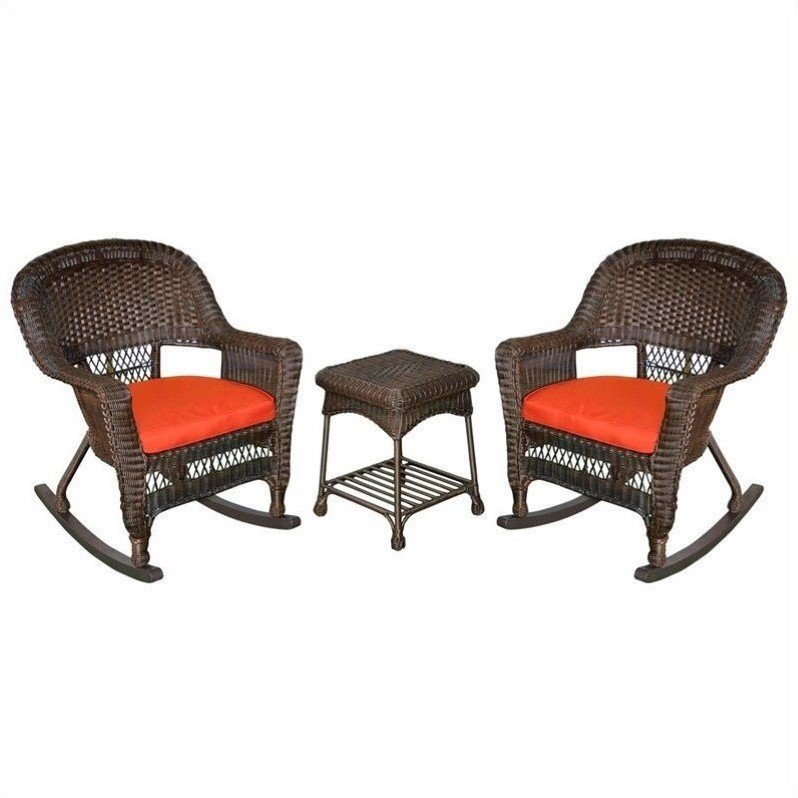 Jeco 3pc Wicker Rocker Chair Set in Espresso with Red Cushion by Jeco Inc.