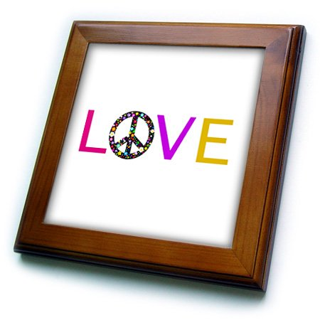 3dRose Love with floral peace sign for O. Hippy hippie flower power symbol - Framed Tile, 6 by 6-inch (Flower Power Hippie)