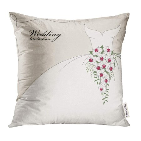 CMFUN Red Wedding Vintage with Dress and Cascade Bouquet of Orchids Party Pillow Case 18x18 Inches Pillowcase