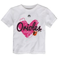 Baltimore Orioles Majestic Girls Toddler Triple Heart T-Shirt - White