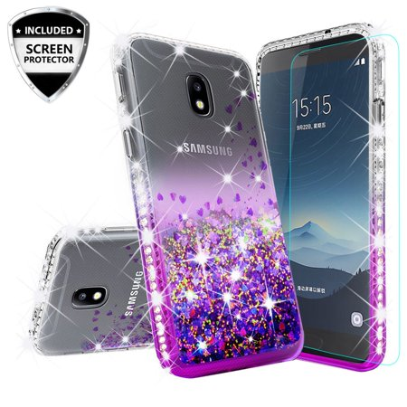 Samsung Galaxy J7 Star Case,J7 Crown Case,J7v 2nd Gen,J7 2018,J7 Refine Case w/[Tempered Glass] Cute Liquid Glitter Quicksand Bling Diamond Bumper Shock Proof Phone Case - Purple/Clear