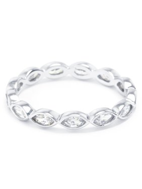Sterling Silver CZ Marquis Eternity Band Ring