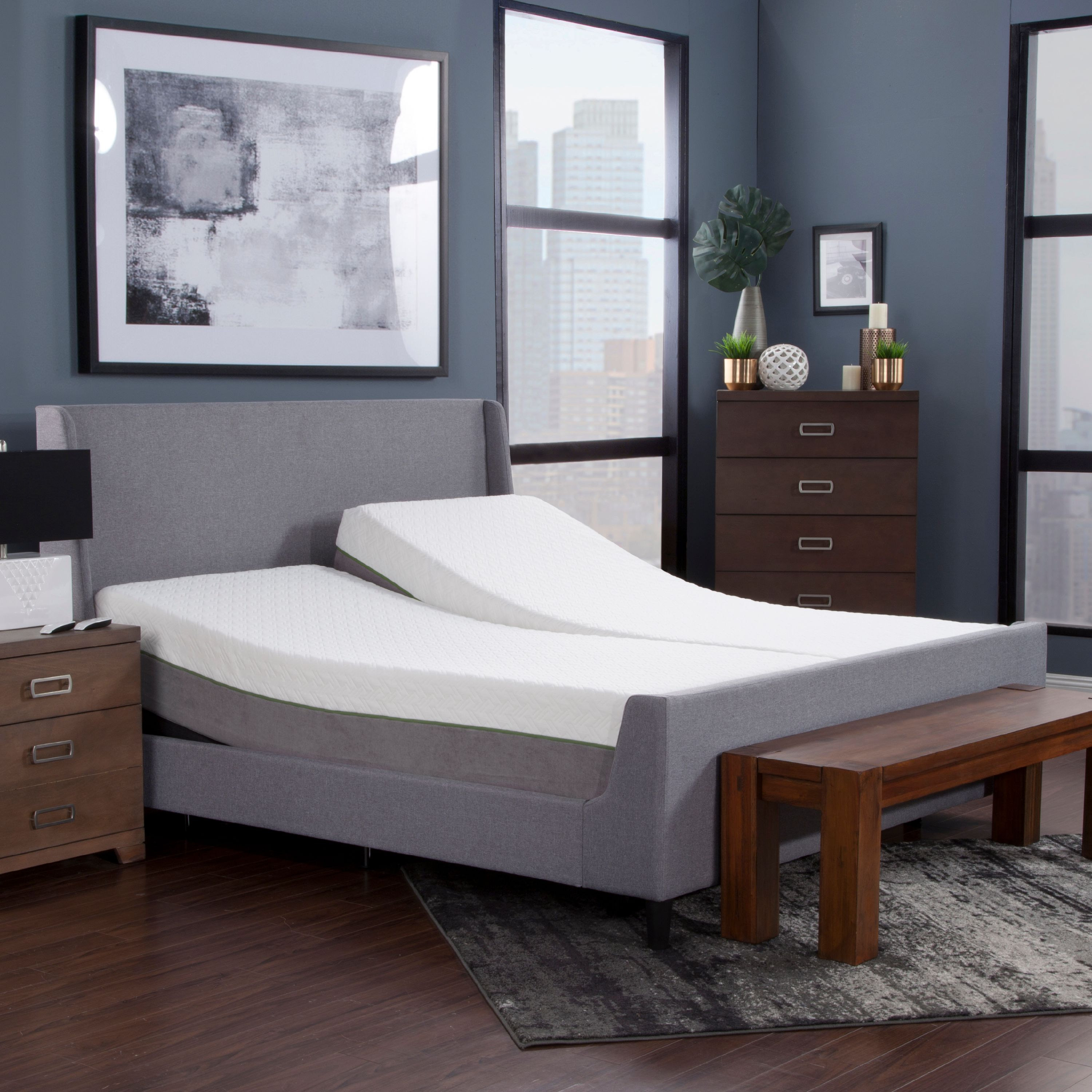 """Blissful Nights 12"""" Copper Infused Memory Foam Mattress, Cal King Split and Adjustable Base"""