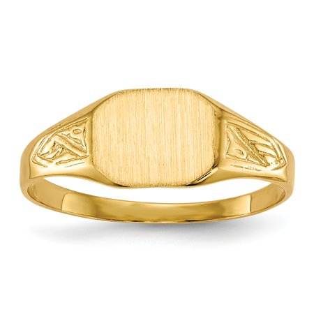 Solid 14k Yellow Gold Engravable Signet Ring (7.4mm) - Size (Engravable Birthstone Rings)