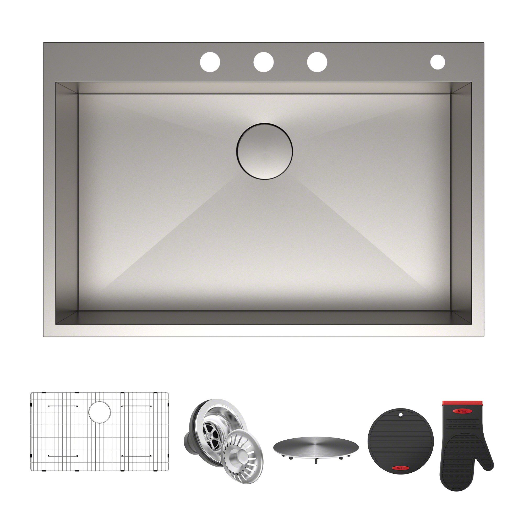 "KRAUS Pax™ Zero-Radius 33"" Single Bowl Stainless Steel Drop-In Kitchen Sink with 4 Pre-Drilled Holes"