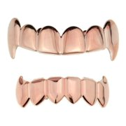 14K Rose Gold Plated Full Fang Grillz Set Upper Top And Bottom Lower Fangs Vampire Teeth Hip Hop Grills