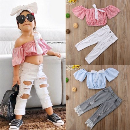 Toddler Baby Girls Cute Summer Striped Off Shoulder Tops Shirts Ripped Holes Pants Outfit Set Clothes (Cute Circus Outfits)