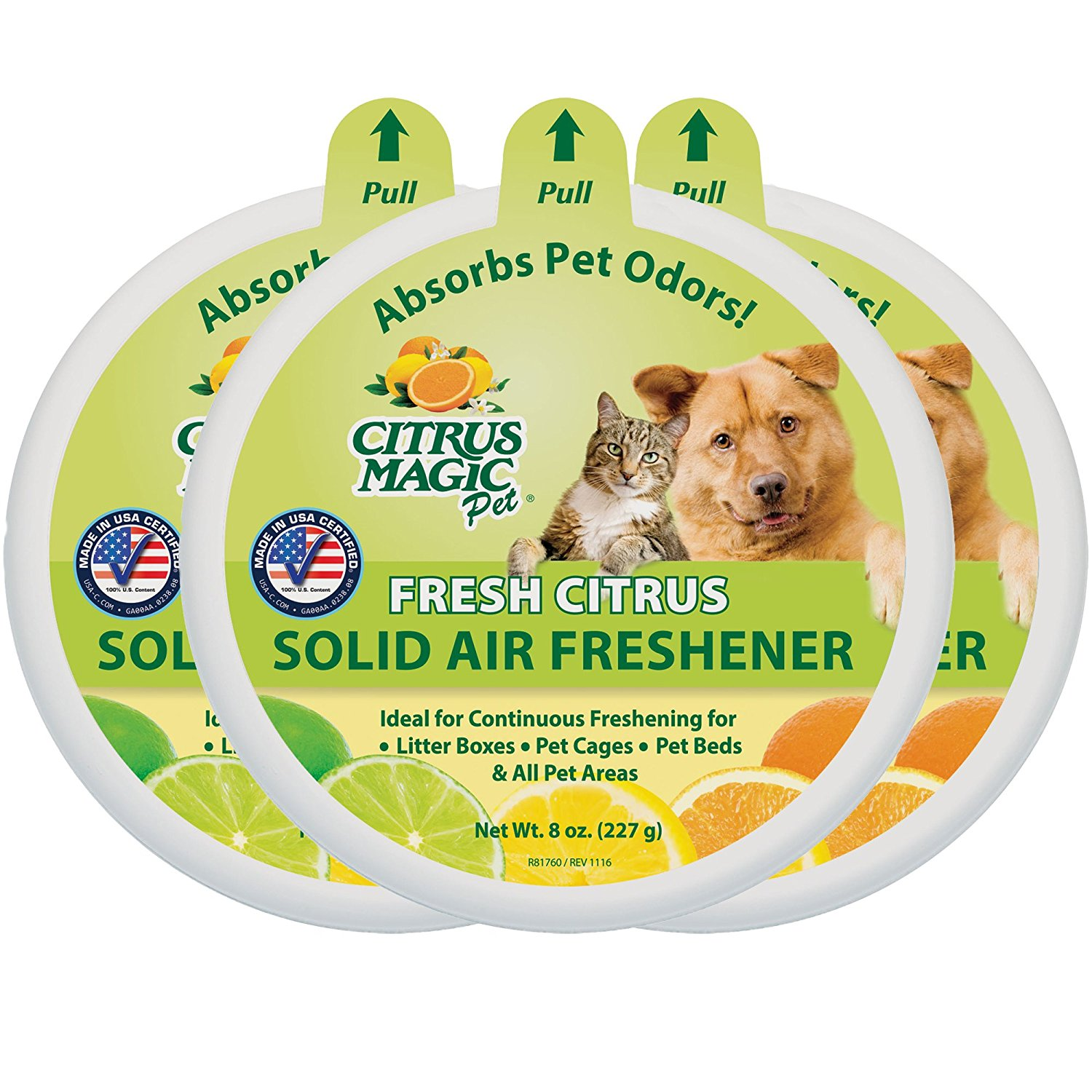 Citrus Magic Pet Odor Absorbing Solid Air Freshener, Fresh Citrus, Pack of 3, 8-Ounces Each