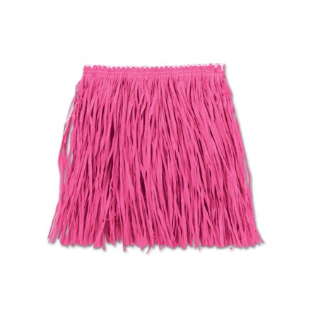 Club Pack of 12 Bright Pink Child Mini Hula Skirt 12